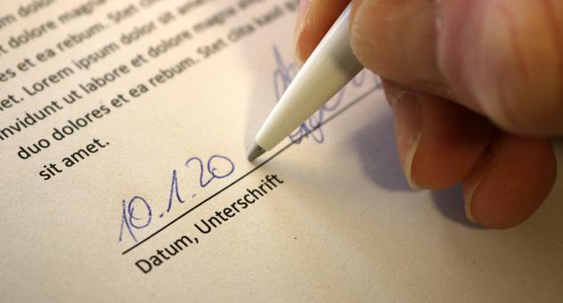 Unterschrift Datum