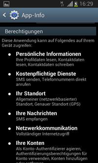 Smartphone-Screenshot der Berechtigungen bei Android