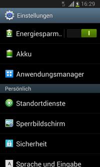 Smartphone-Screenshot der Einstellungen bei Android