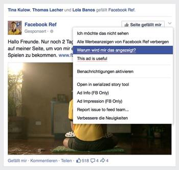 """Eine Beispiel-Werbung auf Facebook mit der Schaltfläche """"Warum wird mir das angezeigt?"""" Quelle: Facebook"""