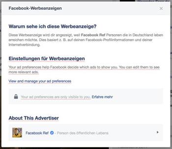 Die Erklärung, weshalb auf Facebook eine bestimmte Werbung angezeigt wird. Quelle: Facebook