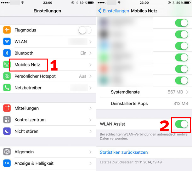 "Screenshots der Einstellungen des ""WLAN Assist"" in Apples iOS 9."