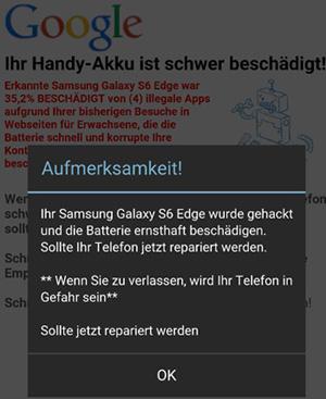 Einer falschen Virenwarnung informiert in schlechtem Deutsch darüber, dass die Batterie des Smartphones beschädigt wurde.