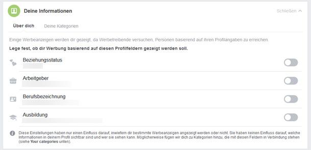 Screenshot der Möglichkeit in den Facebook-Einstellungen, einige Angaben im Profil zu Werbezwecken zu nutzen. In diesem Fall: Beziehungsstatus, Arbeitgeber, Berufsbezeichnung und Ausbildung.