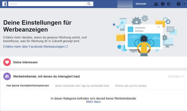 """Screenshot der Einstellungen für Werbung auf Facebook: """"Werbetreibende, mit denen du interagiert hast"""" und darunter der Bereich """"Hat deine Kontaktinformationen"""". Facebook nennt das """"Custom Audience from file"""". Foto: checked4you"""