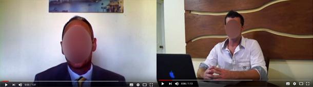 Der Screenshot zweier YouTube-Videos zeigen jeweils einen unkenntlich gemachten Mann mit in der Mitte des Bildes. Screenshots: checked4you.de