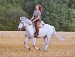 weisses Pferd mit Reiterin galoppiert über Feld